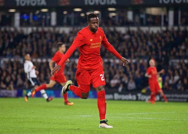 Liverpool's Divock Origi celebrates scoring the third goal against Derby County during the Football League Cup 3rd Round match at Pride Park. (Pic by David Rawcliffe/Propaganda)
