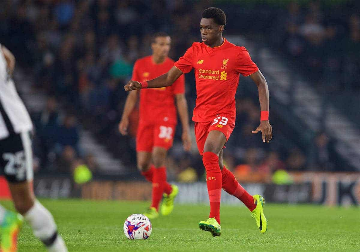 DERBY, ENGLAND - Tuesday, September 20, 2016: Liverpool's Oviemuno Ejaria in action against Derby County during the Football League Cup 3rd Round match at Pride Park. (Pic by David Rawcliffe/Propaganda)