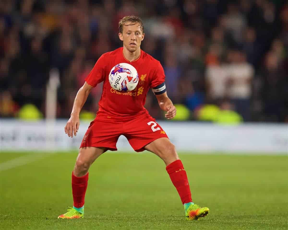 DERBY, ENGLAND - Tuesday, September 20, 2016: Liverpool's captain Lucas Leiva in action against Derby County during the Football League Cup 3rd Round match at Pride Park. (Pic by David Rawcliffe/Propaganda)