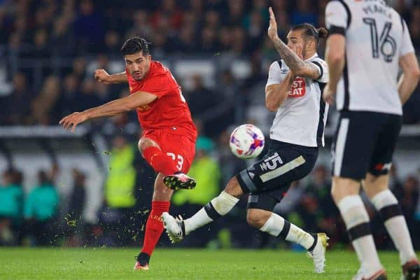 DERBY, ENGLAND - Tuesday, September 20, 2016: Liverpool's Emre Can in action against Derby County during the Football League Cup 3rd Round match at Pride Park. (Pic by David Rawcliffe/Propaganda)