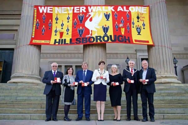 Trevor Hicks, Margret Aspinall, Kenny Dalglish, Lord Mayor of Liverpool Roz Gladden, Marina Dalglish, Lord Mayor's consort Roy Gladden and Professor Phil Scraton with their medals before a Conferment of the Freedom of the City of Liverpool for the 96 Victims of the Hillsborough Stadium Disaster at the St. George's Hall. (Pic by David Rawcliffe/Propaganda)