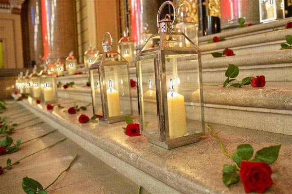 LIVERPOOL, ENGLAND - Thursday, September 22, 2016: Some of the 96 candles lit during a Conferment of the Freedom of the City of Liverpool for the 96 Victims of the Hillsborough Stadium Disaster at the St. George's Hall. (Pic by David Rawcliffe/Propaganda)