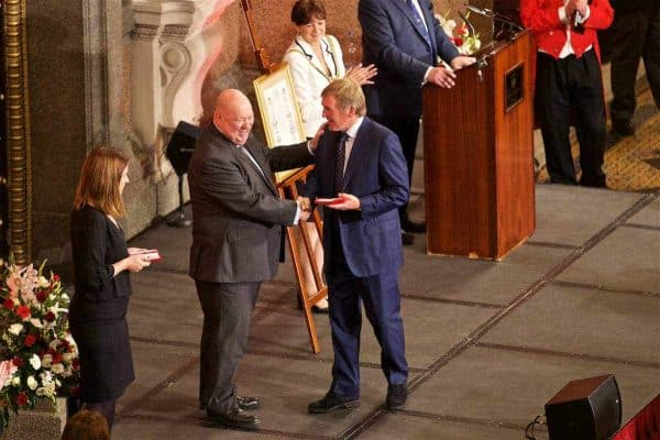 Kenny Dalglish receiving his medal during a Conferment of the Freedom of the City of Liverpool for the 96 Victims of the Hillsborough Stadium Disaster at the St. George's Hall. (Pic by David Rawcliffe/Propaganda)
