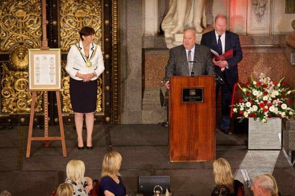 LIVERPOOL, ENGLAND - Thursday, September 22, 2016: Mayor of Liverpool Joe Anderson gives a speech during a Conferment of the Freedom of the City of Liverpool for the 96 Victims of the Hillsborough Stadium Disaster at the St. George's Hall. (Pic by David Rawcliffe/Propaganda)