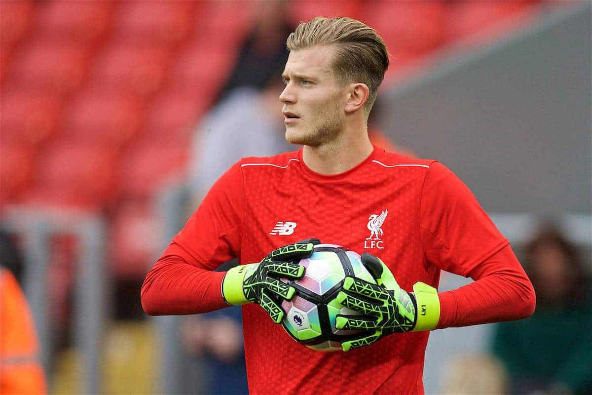 LIVERPOOL, ENGLAND - Saturday, September 24, 2016: Liverpool's goalkeeper Loris Karius warms-up before the FA Premier League match against Hull City at Anfield. (Pic by David Rawcliffe/Propaganda)