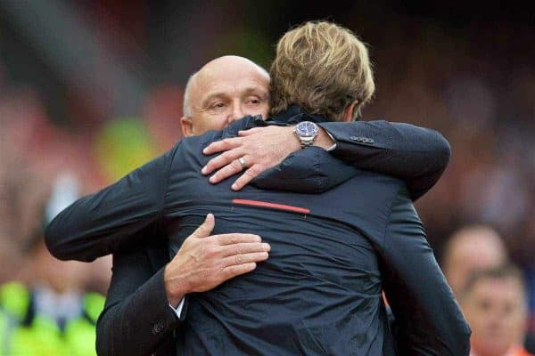 Hull City's caretaker manager Mike Phelan and Liverpool's manager Jürgen Klopp before the FA Premier League match at Anfield. (Pic by David Rawcliffe/Propaganda)
