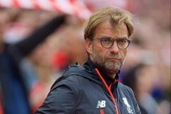 LIVERPOOL, ENGLAND - Saturday, September 24, 2016: Liverpool's manager J¸rgen Klopp before the FA Premier League match against Hull City at Anfield. (Pic by David Rawcliffe/Propaganda)