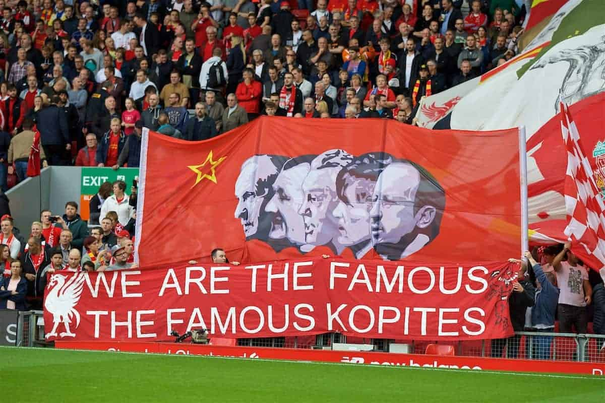 "LIVERPOOL, ENGLAND - Saturday, September 24, 2016: Liverpool supporters' banner ""We are the famous Kopites"" before the FA Premier League match against Hull City at Anfield. (Pic by David Rawcliffe/Propaganda)"