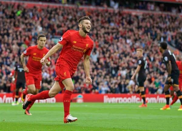 Liverpool's Adam Lallana celebrates scoring the first goal against Hull City during the FA Premier League match at Anfield. (Pic by David Rawcliffe/Propaganda)