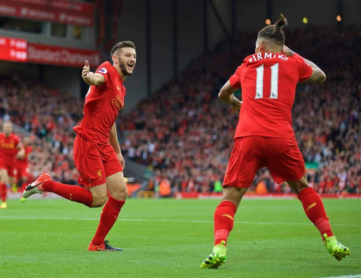 LIVERPOOL, ENGLAND - Saturday, September 24, 2016: Liverpool's Adam Lallana celebrates scoring the first goal against Hull City during the FA Premier League match at Anfield. (Pic by David Rawcliffe/Propaganda)