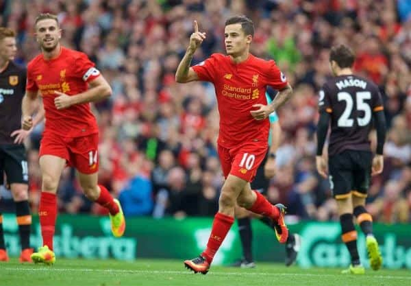Liverpool's Philippe Coutinho Correia celebrates scoring the fourth goal against Hull City during the FA Premier League match at Anfield. (Pic by David Rawcliffe/Propaganda)