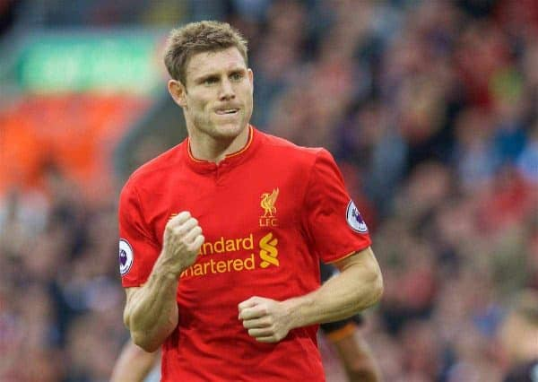 Liverpool's James Milner celebrates scoring the fifth goal against Hull City from the penalty spot, his second penalty goal of the game, during the FA Premier League match at Anfield. (Pic by David Rawcliffe/Propaganda)