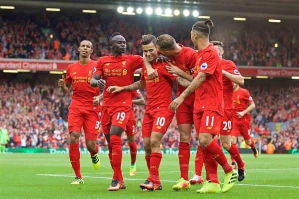 LIVERPOOL, ENGLAND - Saturday, September 24, 2016: Liverpool's Philippe Coutinho Correia celebrates scoring the fourth goal against Hull City with team-mates Sadio Mane, captain Jordan Henderson and Roberto Firmino during the FA Premier League match at Anfield. (Pic by David Rawcliffe/Propaganda)