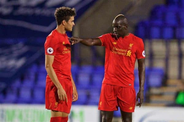 Liverpool's Mamadou Sakho gives instructions to team-mate Tiago Ilori during the Premier League International Cup match against Wolfsburg at Prenton Park. (Pic by David Rawcliffe/Propaganda)