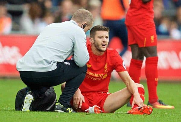 LIVERPOOL, ENGLAND - Saturday, October 1, 2016: Liverpool's Adam Lallana is forced off with an injury during the FA Premier League match against Swansea City at the Liberty Stadium. (Pic by David Rawcliffe/Propaganda)