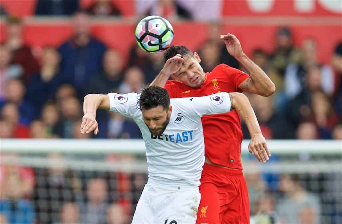LIVERPOOL, ENGLAND - Saturday, October 1, 2016: Liverpool's Dejan Lovren in action against Swansea City's Borja Baston during the FA Premier League match at the Liberty Stadium. (Pic by David Rawcliffe/Propaganda)
