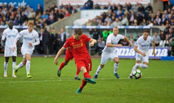 LIVERPOOL, ENGLAND - Saturday, October 1, 2016: Liverpool's James Milner scores the second goal against Swansea City from a penalty kick during the FA Premier League match at the Liberty Stadium. (Pic by David Rawcliffe/Propaganda)
