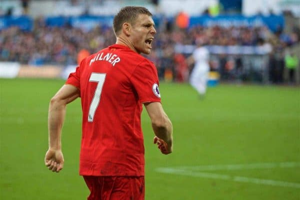 LIVERPOOL, ENGLAND - Saturday, October 1, 2016: Liverpool's James Milner celebrates scoring the second goal against Swansea City from the penalty spot to make the score 2-1 during the FA Premier League match at the Liberty Stadium. (Pic by David Rawcliffe/Propaganda)