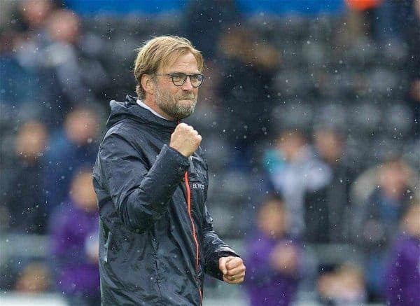 LIVERPOOL, ENGLAND - Saturday, October 1, 2016: Liverpool's manager Jürgen Klopp celebrates after the 2-1 victory over Swansea City during the FA Premier League match at the Liberty Stadium. (Pic by David Rawcliffe/Propaganda)