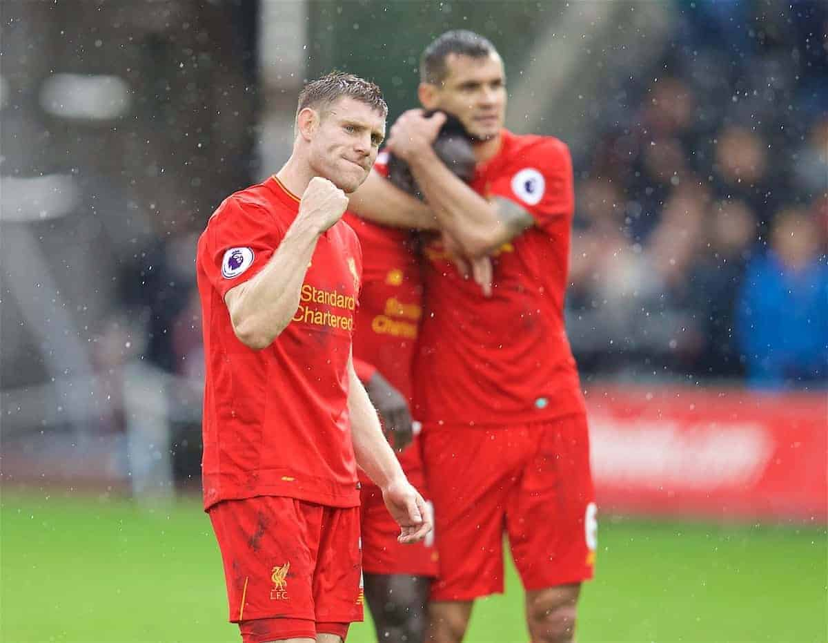 LIVERPOOL, ENGLAND - Saturday, October 1, 2016: Liverpool's match-winning goal scorer James Milner celebrates after the 2-1 victory over Swansea City during the FA Premier League match at the Liberty Stadium. (Pic by David Rawcliffe/Propaganda)