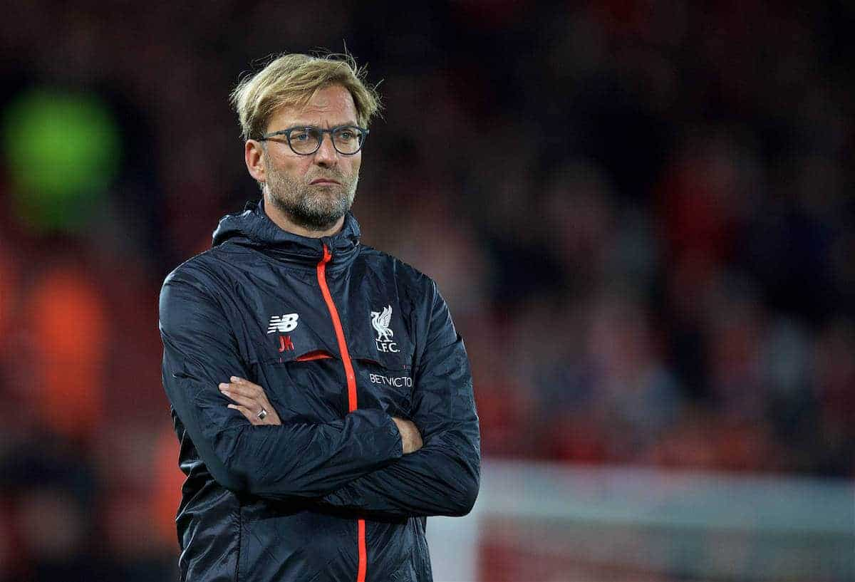 LIVERPOOL, ENGLAND - Monday, October 17, 2016: Liverpool's manager Jürgen Klopp before in action against Manchester United during the FA Premier League match against Manchester United at Anfield. (Pic by David Rawcliffe/Propaganda)