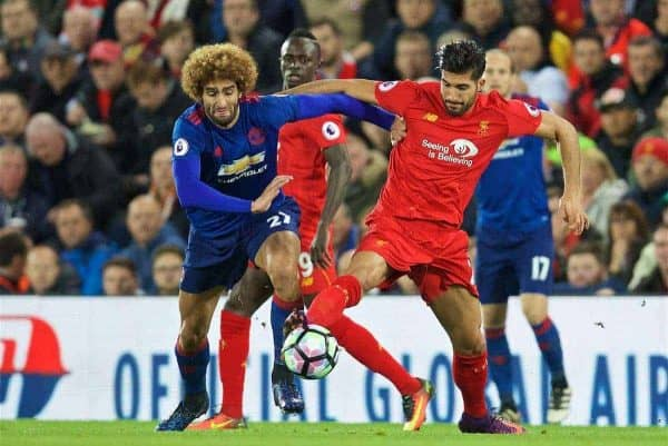 LIVERPOOL, ENGLAND - Monday, October 17, 2016: Liverpool's Emre Can in action against Manchester United's Marouane Fellaini during the FA Premier League match at Anfield. (Pic by David Rawcliffe/Propaganda)