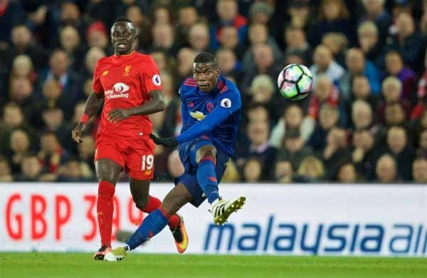 LIVERPOOL, ENGLAND - Monday, October 17, 2016: Manchester United's Paul Pogba in action against Liverpool during the FA Premier League match at Anfield. (Pic by David Rawcliffe/Propaganda)