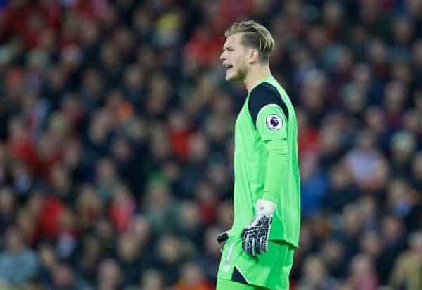 Liverpool's goalkeeper Loris Karius during the FA Premier League match against Manchester United at Anfield. (Pic by David Rawcliffe/Propaganda)