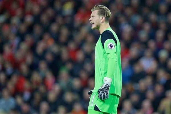 LIVERPOOL, ENGLAND - Monday, October 17, 2016: Liverpool's goalkeeper Loris Karius during the FA Premier League match against Manchester United at Anfield. (Pic by David Rawcliffe/Propaganda)