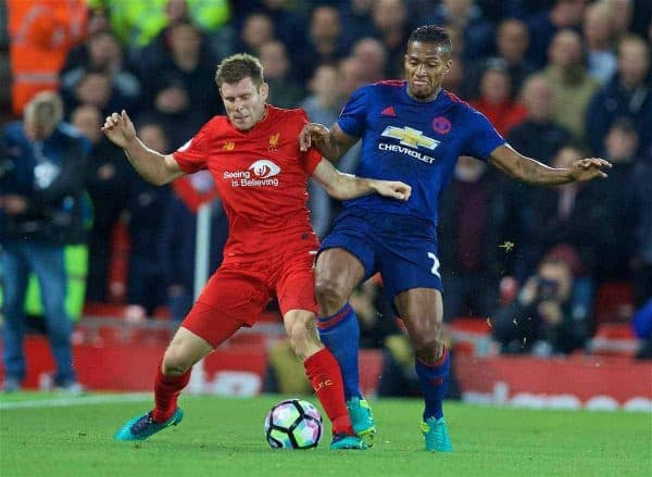 LIVERPOOL, ENGLAND - Monday, October 17, 2016: Liverpool's James Milner in action against Manchester United's Antonio Valencia during the FA Premier League match at Anfield. (Pic by David Rawcliffe/Propaganda)