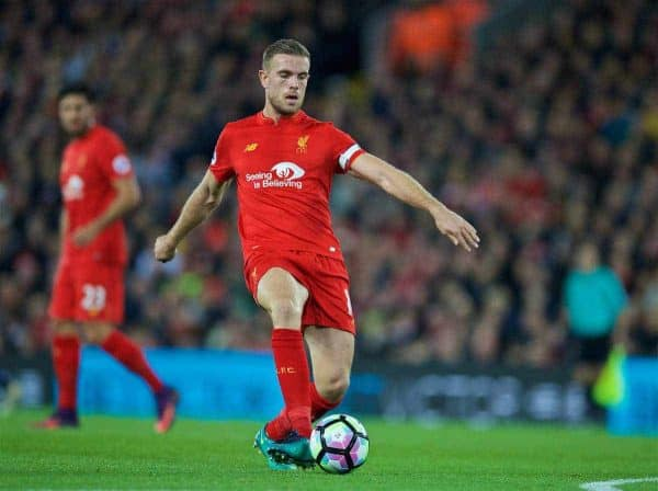 LIVERPOOL, ENGLAND - Monday, October 17, 2016: Liverpool's captain Jordan Henderson in action against Manchester United during the FA Premier League match at Anfield. (Pic by David Rawcliffe/Propaganda)