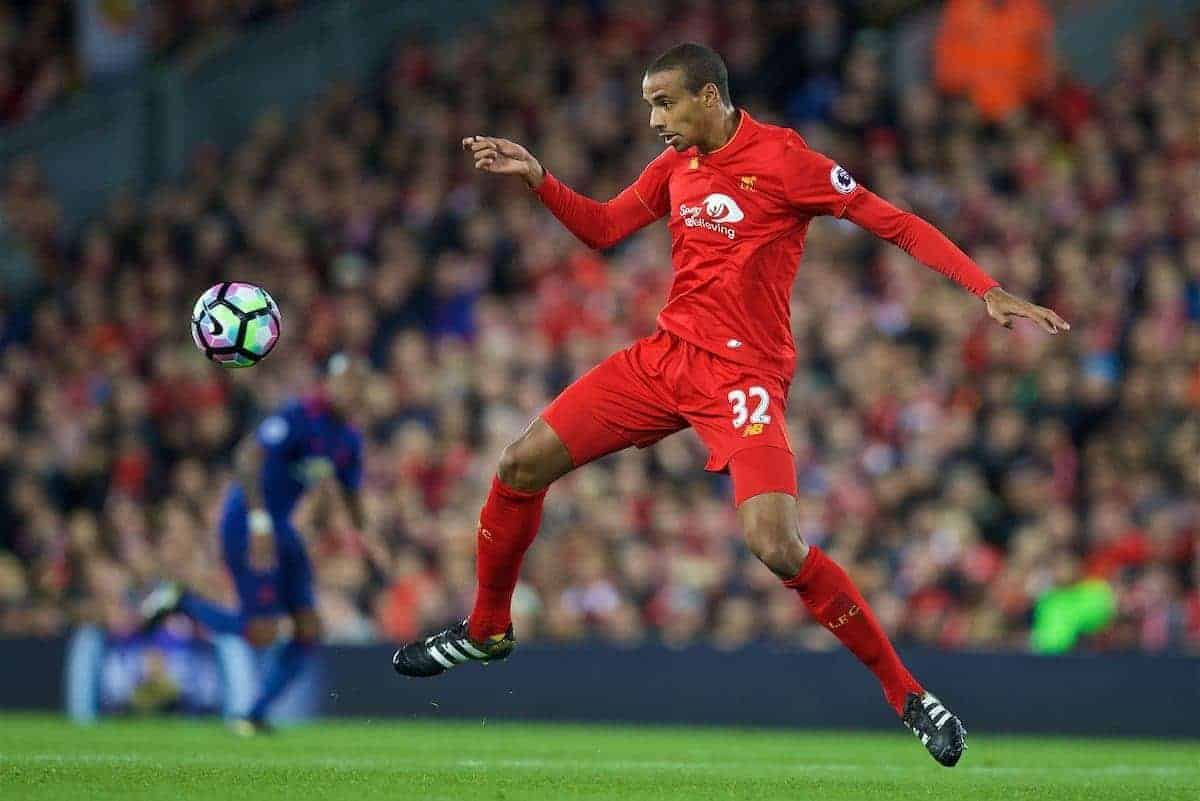 LIVERPOOL, ENGLAND - Monday, October 17, 2016: Liverpool's Joel Matip in action against Manchester United during the FA Premier League match at Anfield. (Pic by David Rawcliffe/Propaganda)