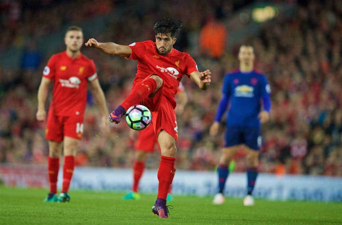 LIVERPOOL, ENGLAND - Monday, October 17, 2016: Liverpool's Emre Can in action against Manchester United during the FA Premier League match at Anfield. (Pic by David Rawcliffe/Propaganda)