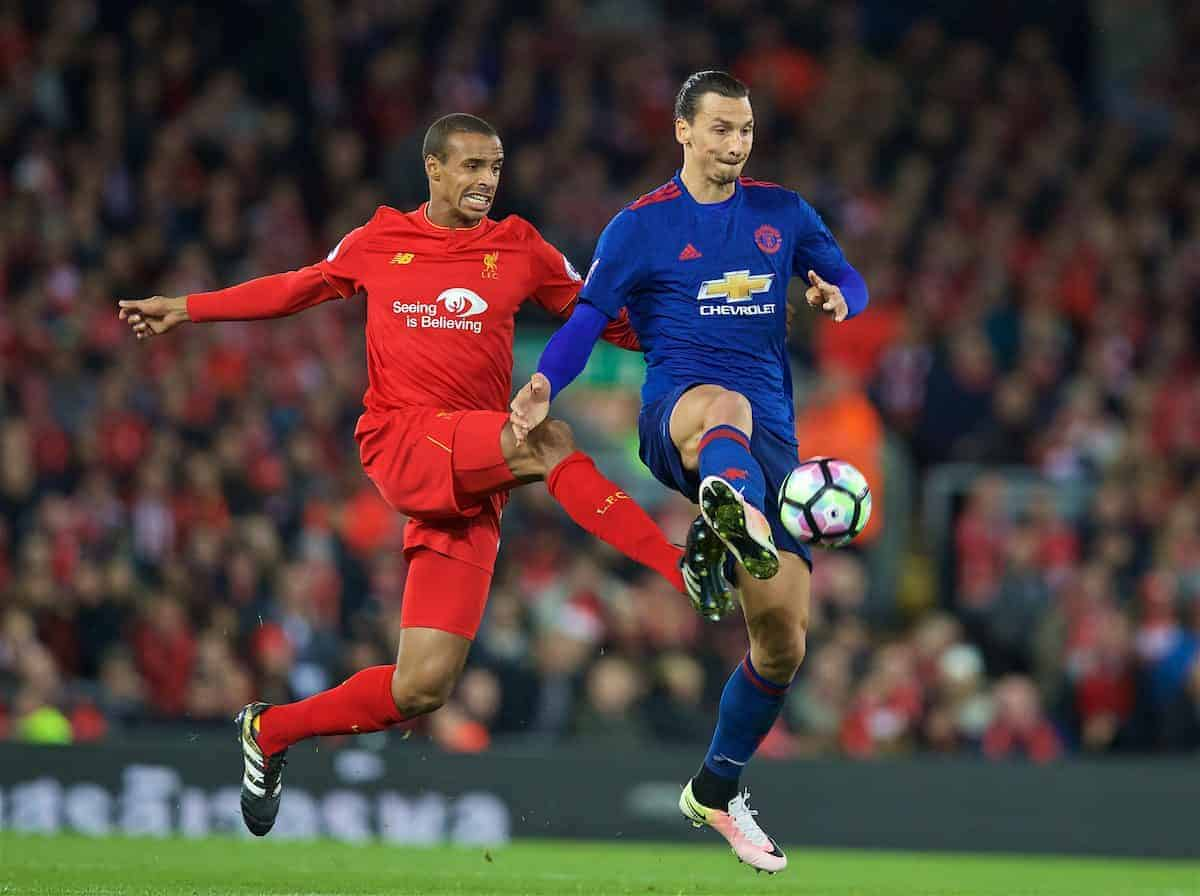 LIVERPOOL, ENGLAND - Monday, October 17, 2016: Liverpool's Joel Matip in action against Manchester United's Zlatan Ibrahimovic during the FA Premier League match at Anfield. (Pic by David Rawcliffe/Propaganda)