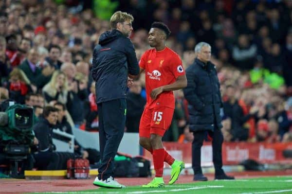 Liverpool's Daniel Sturridge is substituted by manager Jürgen Klopp against Manchester United during the FA Premier League match at Anfield. (Pic by David Rawcliffe/Propaganda)