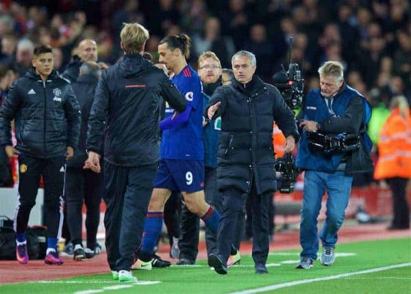 Manchester United's manager Jose Mourinho shakes hands with Liverpool's manager Jürgen Klopp after the goal-less draw during the FA Premier League match at Anfield. (Pic by David Rawcliffe/Propaganda)