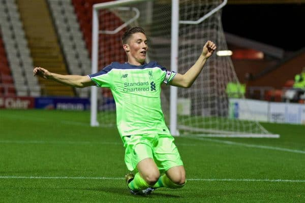 Liverpool's captain Harry Wilson celebrates scoring the first goal against Manchester United during the FA Premier League 2 Under-23 match at Leigh Sports Village. (Pic by David Rawcliffe/Propaganda)