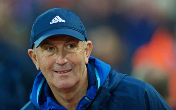 LIVERPOOL, ENGLAND - Saturday, October 22, 2016: West Bromwich Albion's head coach Tony Pulis before the FA Premier League match against Liverpool at Anfield. (Pic by David Rawcliffe/Propaganda)