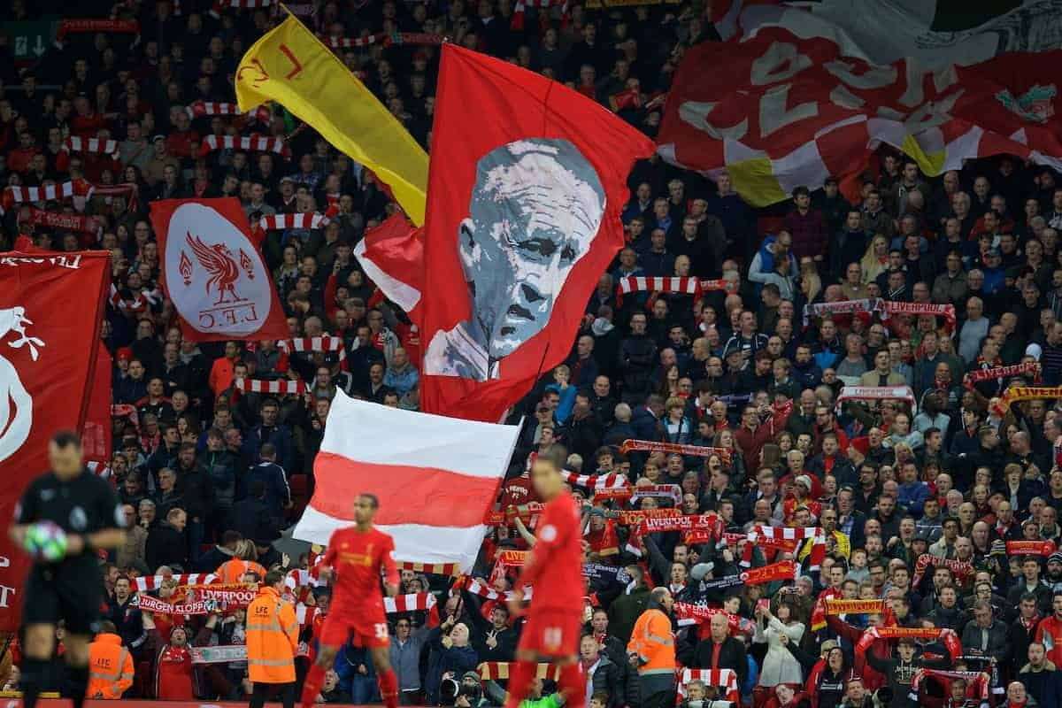 LIVERPOOL, ENGLAND - Saturday, October 22, 2016: Liverpool supporters on the Spion Kop with a Bill Shankly banner before the FA Premier League match against West Bromwich Albion at Anfield. (Pic by David Rawcliffe/Propaganda)