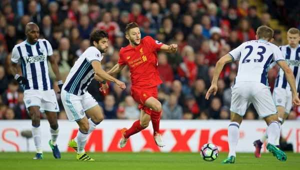 LIVERPOOL, ENGLAND - Saturday, October 22, 2016: Liverpool's Adam Lallana in action against West Bromwich Albion during the FA Premier League match at Anfield. (Pic by David Rawcliffe/Propaganda)