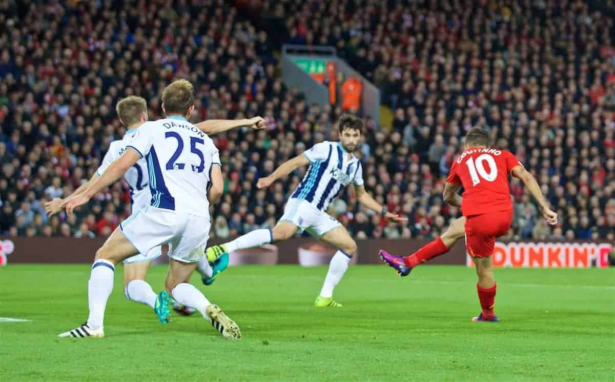 LIVERPOOL, ENGLAND - Saturday, October 22, 2016: Liverpool's Philippe Coutinho Correia scores the second goal against West Bromwich Albion during the FA Premier League match at Anfield. (Pic by David Rawcliffe/Propaganda)