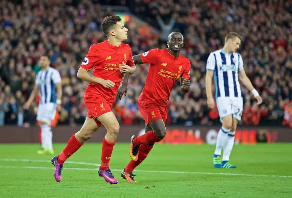 LIVERPOOL, ENGLAND - Saturday, October 22, 2016: Liverpool's Philippe Coutinho Correia celebrates scoring the second goal against West Bromwich Albion during the FA Premier League match at Anfield. (Pic by David Rawcliffe/Propaganda)