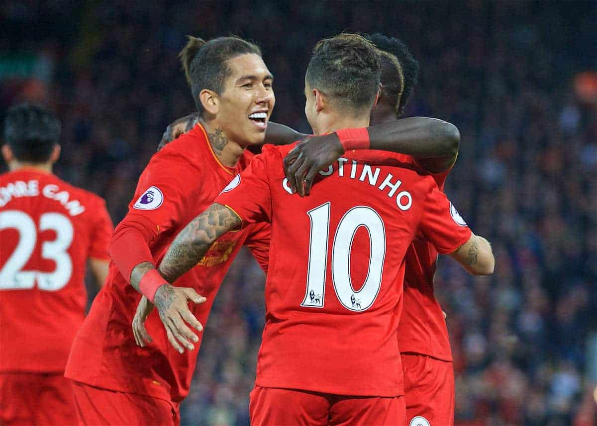 LIVERPOOL, ENGLAND - Saturday, October 22, 2016: Liverpool's Philippe Coutinho Correia celebrates scoring the second goal against West Bromwich Albion with team-mate Roberto Firmino during the FA Premier League match at Anfield. (Pic by David Rawcliffe/Propaganda)