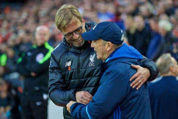 Liverpool's manager Jürgen Klopp shakes hands with West Bromwich Albion's head coach Tony Pulis before the FA Premier League match at Anfield. (Pic by David Rawcliffe/Propaganda)