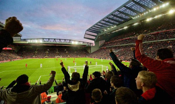 LIVERPOOL, ENGLAND - Saturday, October 22, 2016: Liverpool supporters celebrate as Sadio Mane scores the opening goal against West Bromwich Albion during the FA Premier League match at Anfield. (Pic by David Rawcliffe/Propaganda)