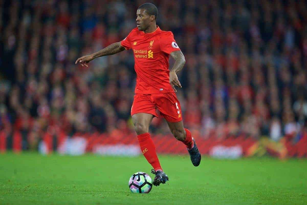 LIVERPOOL, ENGLAND - Saturday, October 22, 2016: Liverpool's Georginio Wijnaldum in action against West Bromwich Albion during the FA Premier League match at Anfield. (Pic by David Rawcliffe/Propaganda)