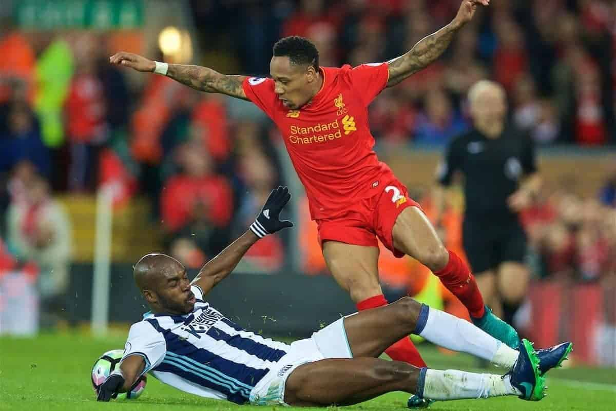 LIVERPOOL, ENGLAND - Saturday, October 22, 2016: Liverpool's Nathaniel Clyne in action against West Bromwich Albion during the FA Premier League match at Anfield. (Pic by David Rawcliffe/Propaganda)