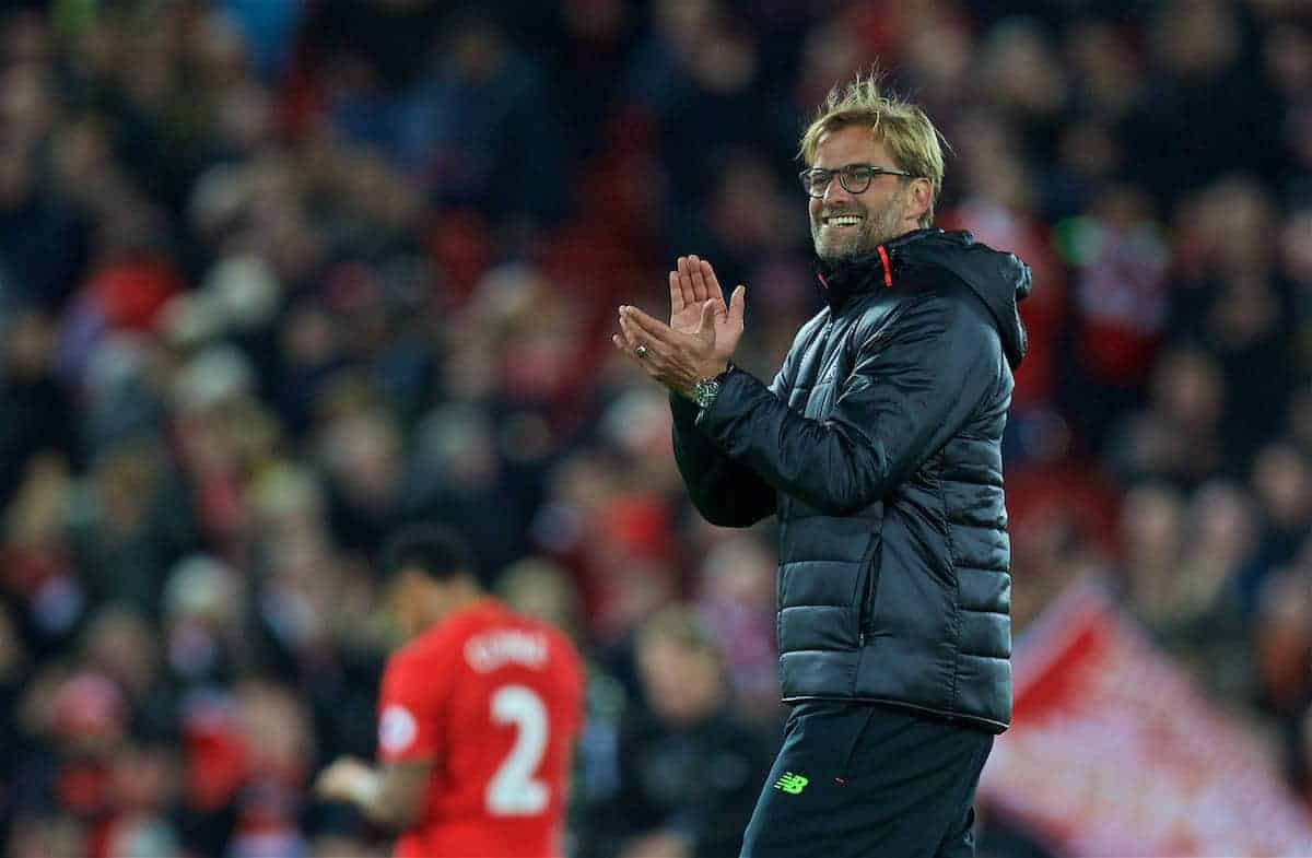 LIVERPOOL, ENGLAND - Saturday, October 22, 2016: Liverpool's manager Jürgen Klopp applauds the supporters after the 2-1 victory over West Bromwich Albion during the FA Premier League match at Anfield. (Pic by David Rawcliffe/Propaganda)