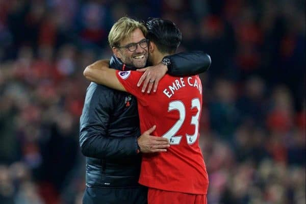 Liverpool's manager J¸rgen Klopp hugs Emre Can after the 2-1 victory over West Bromwich Albion during the FA Premier League match at Anfield. (Pic by David Rawcliffe/Propaganda)