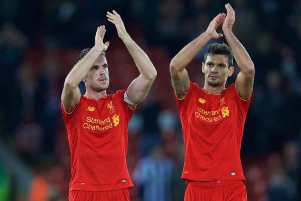 LIVERPOOL, ENGLAND - Saturday, October 22, 2016: Liverpool's captain Jordan Henderson and Dejan Lovren applaud the supporters after the 2-1 victory over West Bromwich Albion during the FA Premier League match at Anfield. (Pic by David Rawcliffe/Propaganda)
